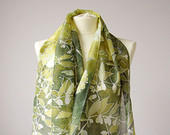 long silks scarves - lily of the valley scarf - flower scarf - white green scarf - Solomon Seal - May bells - May lily - handpainted scarf