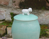 Mint Green Lidded Jar w/ White Lamb knob -  hand-thrown, stoneware pottery spring easter sheep