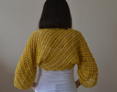 Hand Knit Mustard Yellow Bolero, Mustard Yellow Wrap, Lace Bolero, Lace Wrap, Cotton Shrug, Cotton Wrap, Bridal Bolero Jacket, Wedding Shrug
