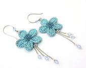 Crochet flower aqua dangle earrings, fiber dangle earrings, spring, gift for her