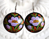 earrings of wood with hand painted purple flowers