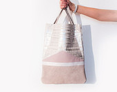 Silver Pink Metallic Leather Shopper // Spring Pastel Tote // Geometric Hobo Bag // Laptop Purse // Birthday Gift
