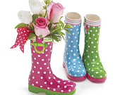 Rainboot Rain Boot Ceramic Spring Novelty Vase Choice of 3 Colors