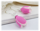 Pink Tulip Earrings- Sterling Silver,  Pink and White Tulips, Spring Flower Earrings