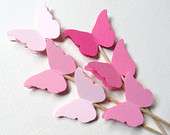 24 Mixed Pink Butterfly Cupcake Toppers, Party Decor, Weddings, Showers, Birthdays, Spring, Summer, Nature