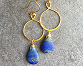Lapis Earrings,Gold Hoop Earrings,Lapis Hoop Earrings,Lapis Dangle Earrings,Gold Blue Earrings,Lapis Lazuli,Gold Vermeil Infinity Hoops