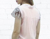 Pink Elegant Blouse , Spring Blouse , Buttoned Blouse , Short Sleeve Top , Petal Sleeve , Pastel Blouse , Pale Pink Blouse