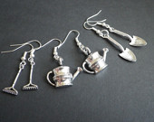 Gardener's Gift Set- Garden Tools- Farming- Rake- Water Pail- Shovel- Silver- French Hook- Lead and Nickle Free- Silver Plated- Earrings