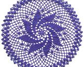 Crochet doily, purple pinwheel doily