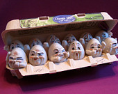 A Dozen Fresh Eggs -- Allyson Nagel - A.N. Original Designs -- Humpty Dumpty Porcelain Figurines