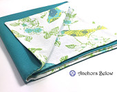 Birds in a Bush and Teal Double Sided Pocket Square Yellow White