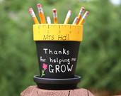 Personalized Teacher gift - pencil holder with Teacher name ONLY