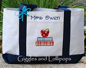 Personalized teacher tote bag great teacher gift