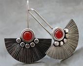 Sterling Silver Fun Earrings with Carnelian - Sterling Silver Jewellery - Textured - Gemstone Earrings - Handcrafted Jewellery