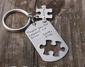Personalized teacher gift teachers aide puzzle piece keychain Thank you for helping me grow