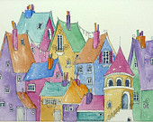 Town Houses bright colourful houses, all full of character an original watercolour painting.