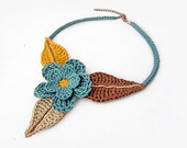 Crochet country flower choker necklace, ethnic tribal flower necklace choker, flower and leaves necklace, green, brown