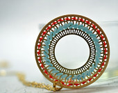 Bohemian Gold and Turquoise Circle Pendant Necklace , Cross Stitch Jewelry