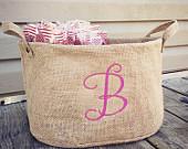 Personalized burlap storage basket tote, wedding program, teacher gift, Easter birthday basket