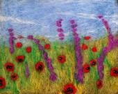 Poppy and Lupin Brooch - Red and Purple Flower Brooch - Needle Felted Poppies - Red Poppy Brooch - Poppy Field Brooch - Merino Wool Brooch