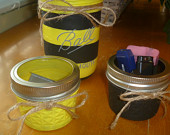 Painted Mason Jars, Striped, Yellow and Black Bumble Bee Set of 3
