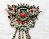 Matilde Poulat/Salas Mexican Sterling Silver Brooch with two birds Coral and Turquiose Stone. Stamped Matl Salas Mexico 925.