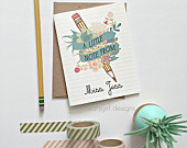Set of 4 Personalized Bloom Pencil Notecards with Matching Envelopes - Perfect for Teachers, Grads, Assistants, Friends, Notes