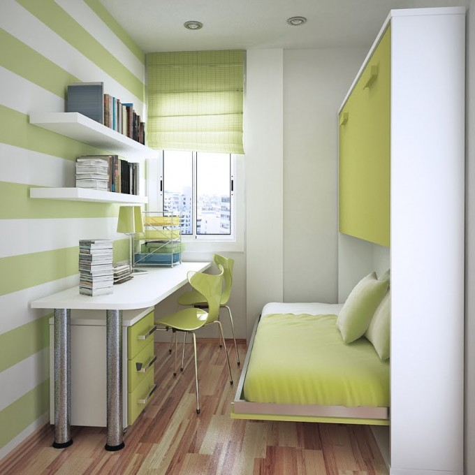 astonishing-modern-green-white-interior-design-for-small-spaces-bed-desk-680x680