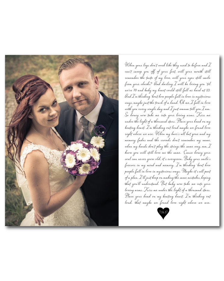 Wedding Photo Song Lyric Print