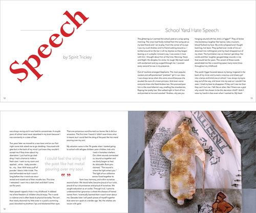 print design amber zipperer spreads for essay school yard hate speech nbsp i sought to use visuals
