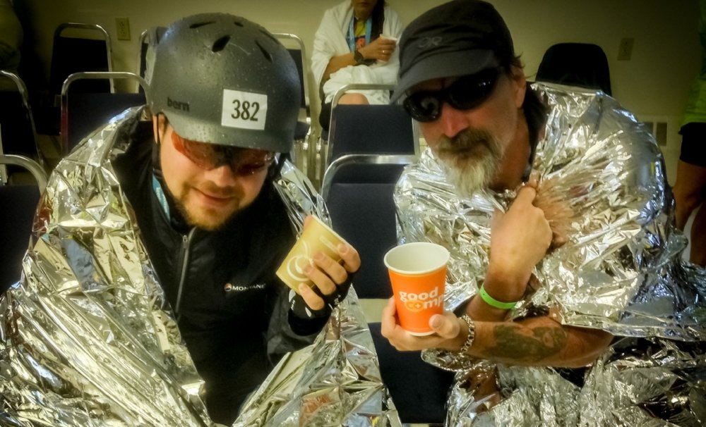 Hans & Mike after riding seventy miles in driving rain during the American Lung Association's 2015 Trek Across Maine.