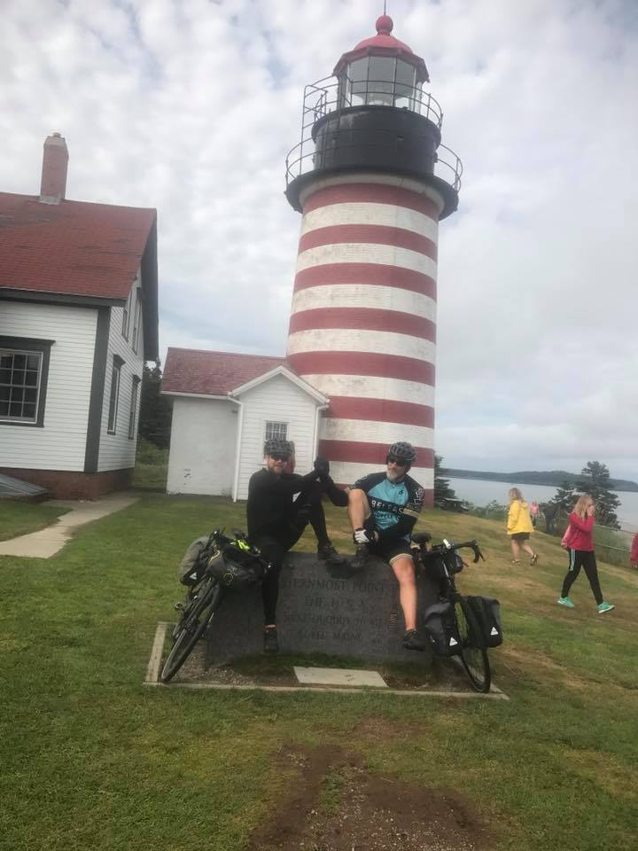 Hans and Mike in front of the West Quoddy Head Lighthouse