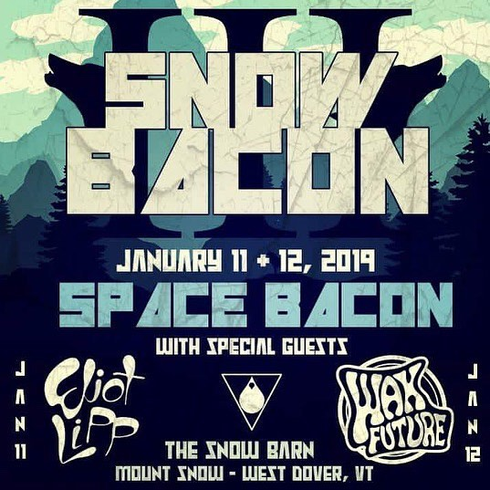 THIS WEEKEND! Space Bacon presents the third annual Snow Bacon III ft @spacebacon  @eliotlipp @waxfuture at @mountsnow  Grab tix for an amazing weekend of skiing, snowboarding, and live music!