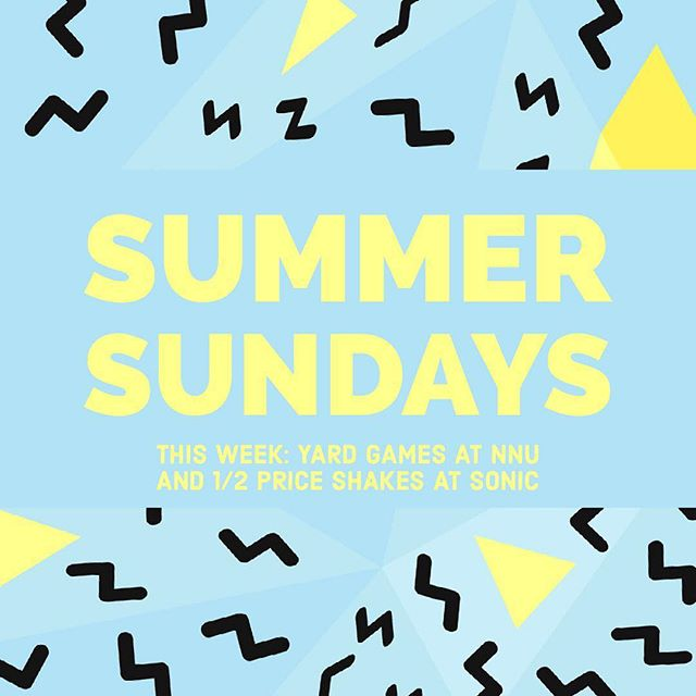 For the next several weeks, we will be be having community gatherings on Sunday nights! This Sunday, we will be meeting at NNU at 6pm on the lawn outside the Brandt Center for yard games! Please bring any yard games that you have! At 8pm, we will head over to Sonic for 1/2 price shakes! See you on Sunday!! ☀️