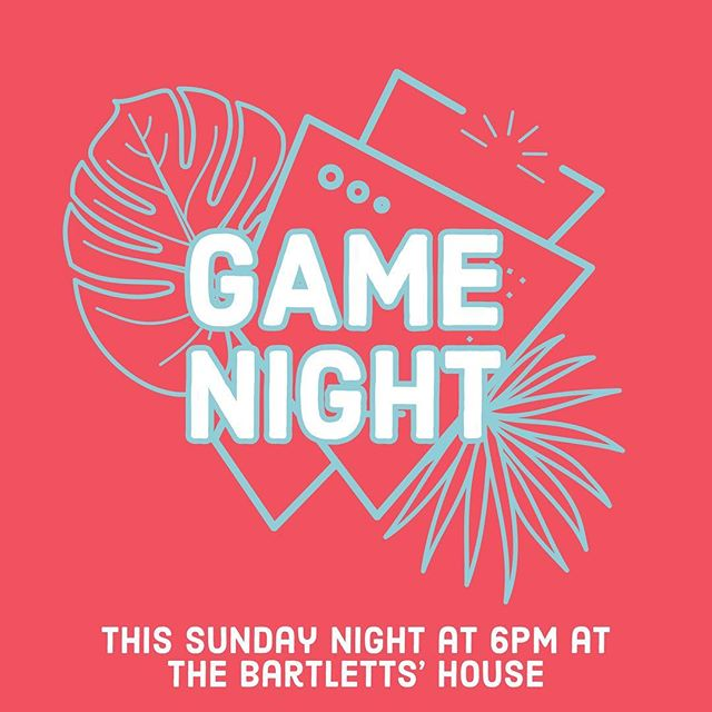 The summer fun continues this Sunday night! We will be playing games and catching up with each other at the Bartletts' house! Light snacks will be provided. See you tomorrow night at 6pm! (Send is a DM for the address).