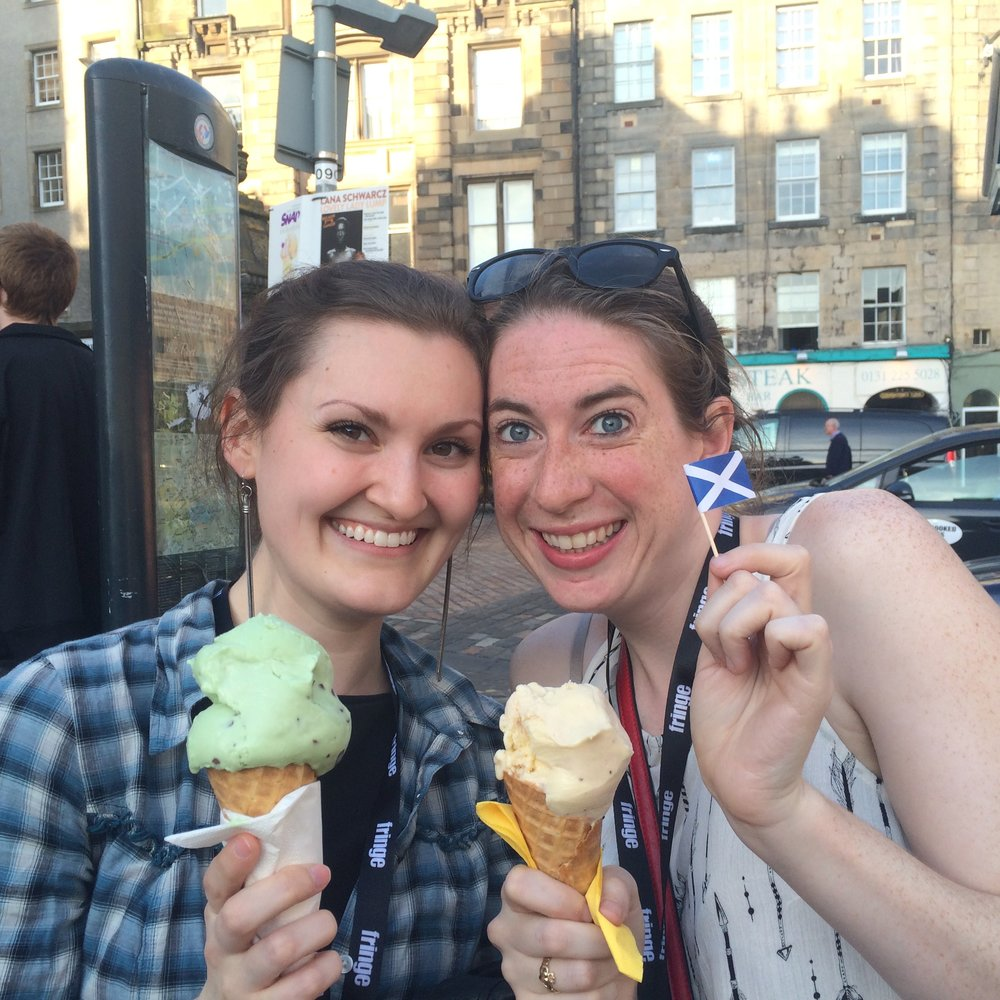 Founders, Lisa & Tierney enjoy ice creams at the Ed Fringe, 2016.