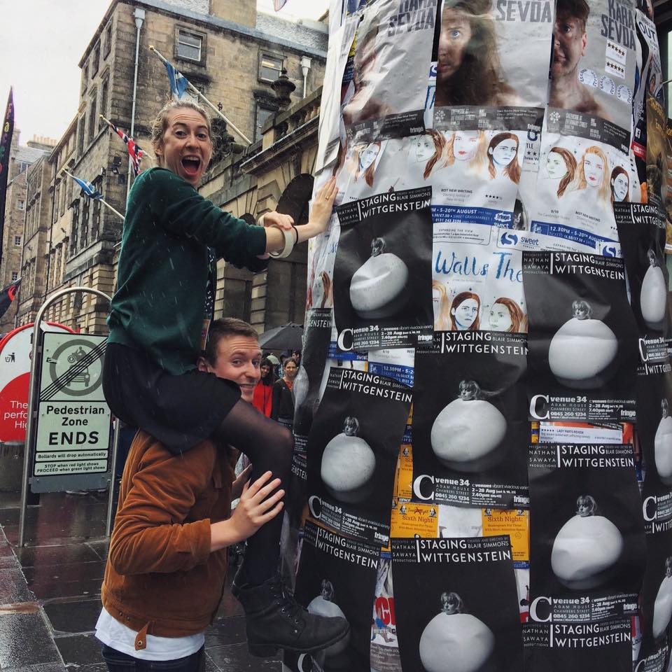 Ever wonder how we get those posters so high? Royal Mile acrobatics from our actors - Tierney & William!