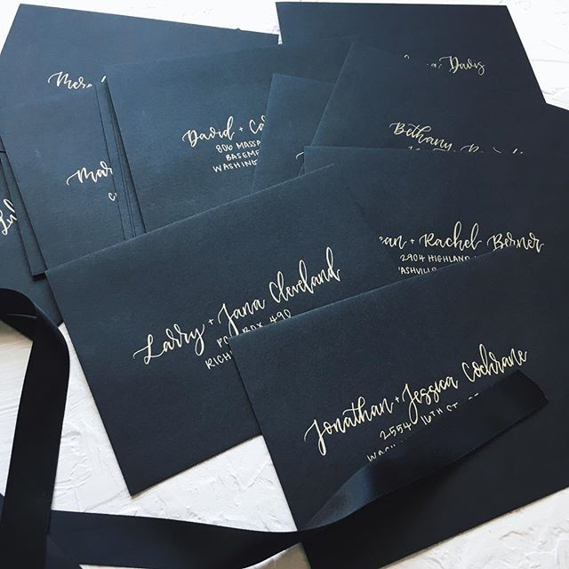 Gold on black envelopes may Be my favorite combo yet😍✨ . . . #weddingstationery #weddingenvelopesaddresding  #weddingenvelopes #calligraphy #moderncalligraphy #virginiacalligrapher
