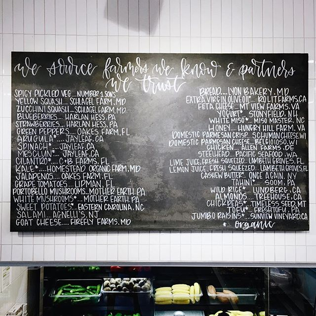 Thank you @_falon for the opportunity to create the locally sourced food board at Sweetgreen! 🤗 . . . #sweetgreen #locallysourced #organic #calligraphy #chalkboardcalligraphy #calligrapher #virginiacalligrapher