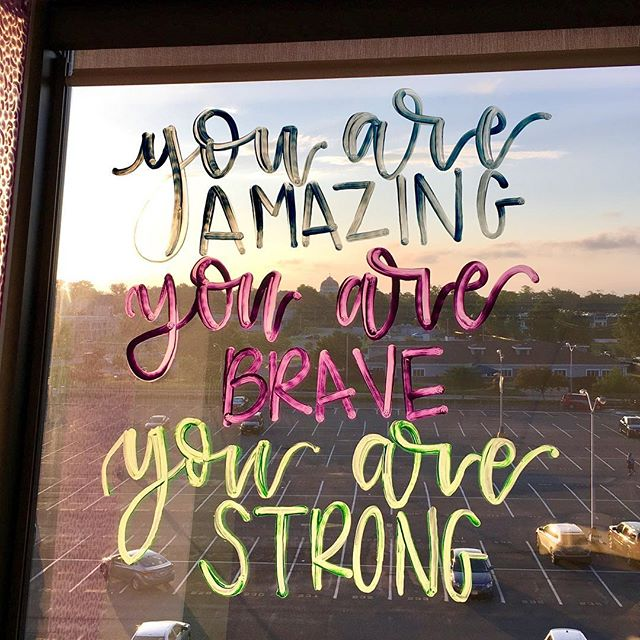 Night shift crafting on patient's windows 😂🙈 . . . #inspirationalquotes #calligraphy #moderncalligraphy #virginiacalligrapher