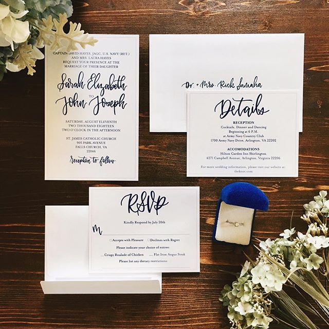 Custom stationery for a beautiful bride! I can't wait to celebrate you and John! 😍 . . . #weddingstationery #customstationery #calligraphy #moderncalligraphy #weddingcalligraphy #weddinginvitations #virginiacalligrapher