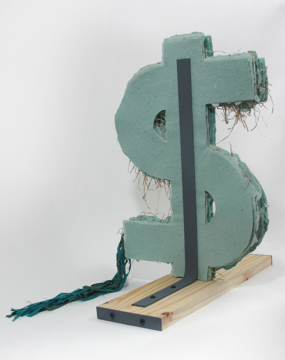 E Unim Pluribus , 2013, handmade paper with shredded money and rag pulp