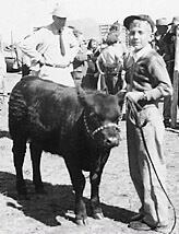 Bob Sitz in 1948 with his first heifer calf