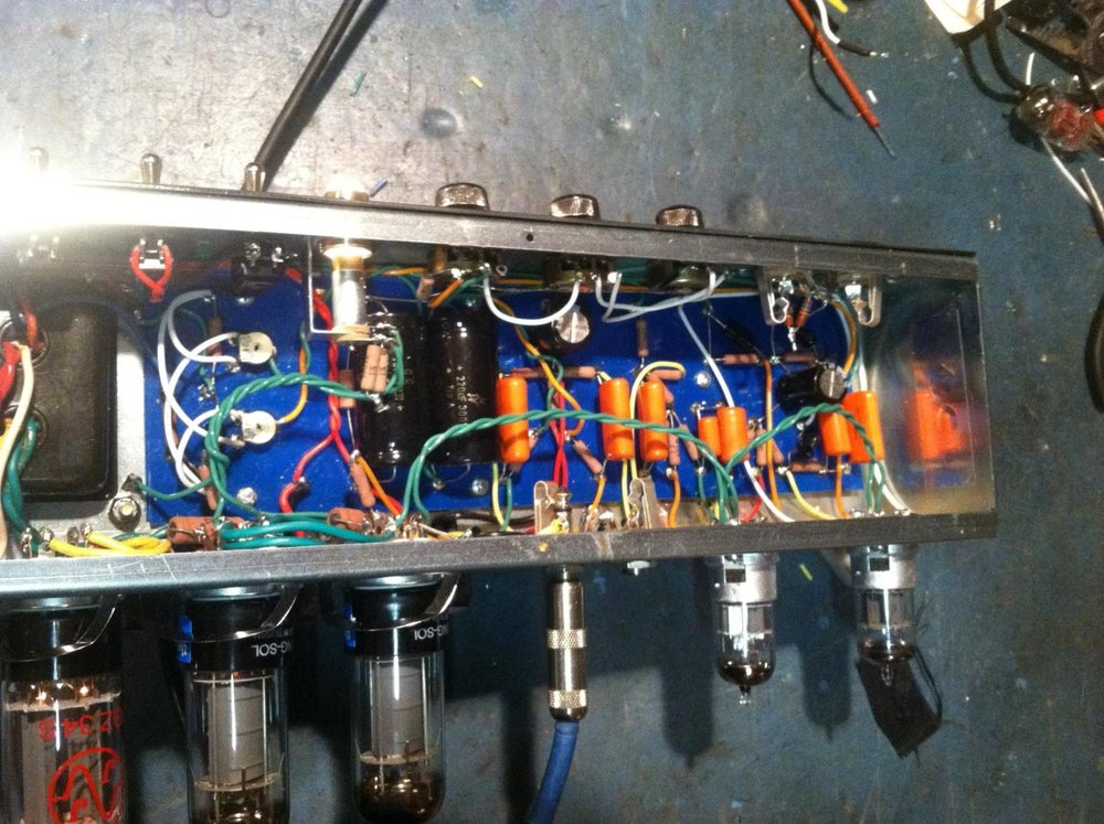 Some of Dan's gorgeous handiwork, in an amp he designed himself nonetheless!
