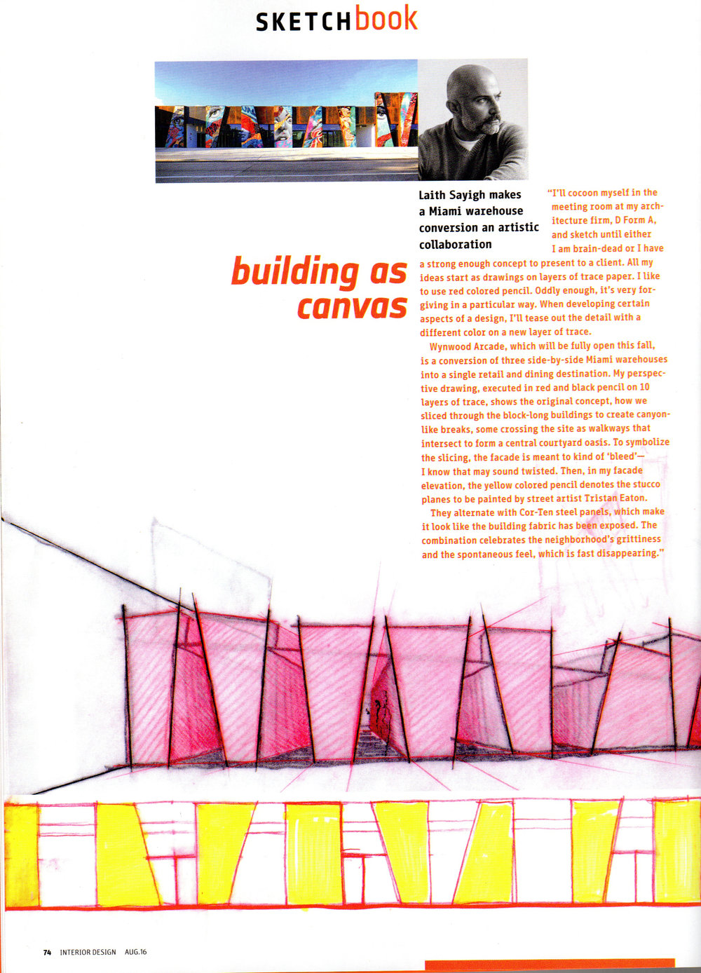 Laith Sayigh featured in Interior Design Magazine for artistic collaboration on Wynwood Arcade