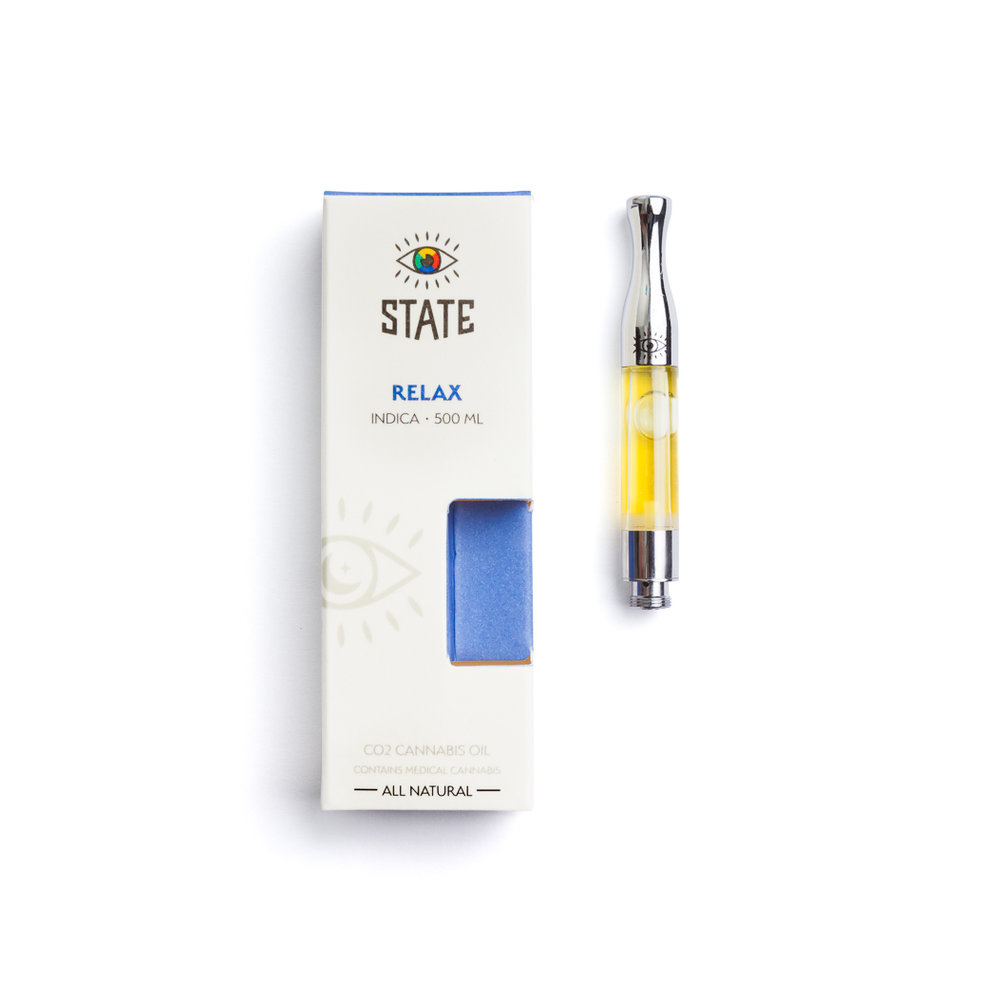 STATE RELAX - INDICA    Enter a STATE of relaxation and unwind with a dreamy indica blend made from premium CO2 oil extracted from top-shelf cannabis grown in California. Find your STATE today with this compassionately priced cartridge that works with any vape battery.
