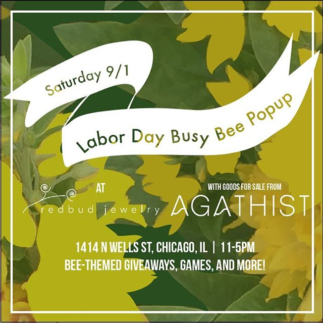 CHICAGO - check it out!! We're hosting our first ever pop up at the lovely @redbudjewelry studio on Wells! Red Bud and Agathist goods will both be for sale. We'll also have some fun giveaways and other goodies.  Come try on a RIP BEES  cap, you know you've wanted to 😉 #agathist #chicagosmallbusiness #enamelpin #savethebees #bees #smallbusiness #popup #popupshop #protectourpollinators