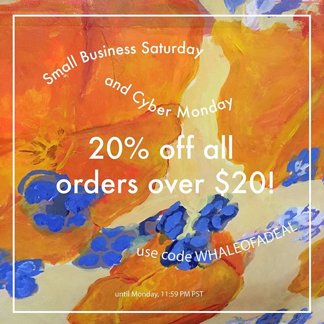 We're not participating in Black Friday this go-round but you can get 20% off all orders over $20 starting tomorrow for #smallbusinesssaturday and #cybermonday! Just use code WHALEOFADEAL at checkout. 🐋 (Why whale of a deal? Because Sam loves whales, and Hannah, who made the code, loves Sam) #smallbusinessowner #agathist #losangelessmallbusiness #chicagosmallbusiness #pins #enamelpins #savethebees