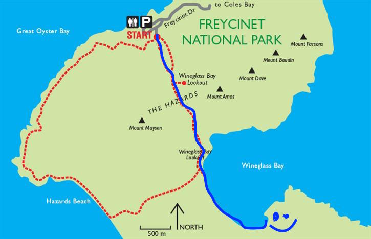 Our evening-walk route in blue, smiley face was our camping spot!
