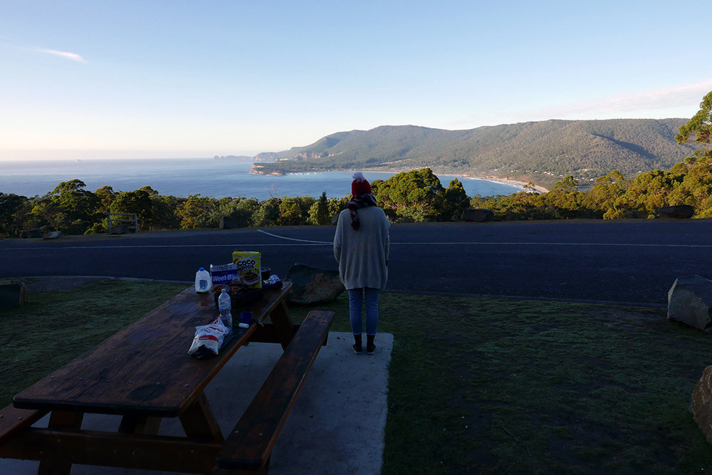 Breakfast with a view on our way to Port Arthur